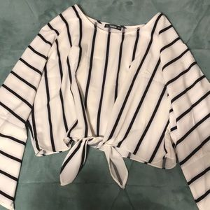 One and black striped bat sleeve blouse